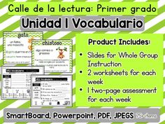 In this mega pack you will find all that you need to instruct and engage your first grade students with the vocabulary words of Unit 1 of Calle de la lectura.There are slides for each individual vocabulary word with an image, definition, two sentences and a question for the class.You will also find two different worksheets for each week using the vocabulary words of the week.Finally, there is a two page assessment that you can use at the end of the week with your students to monitor their…