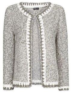 crochet knit metallic Coco-like cardigan Mooi randje
