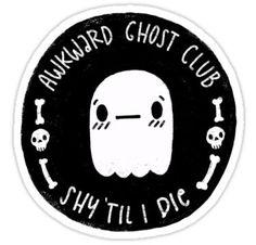 Awkward Ghost Club Black Sticker