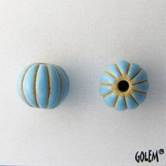 Light Blue Glazed Melon Beads, Hand Carved Melon Beads, Large Hole Beads For Kumihimo, Spacer Beads, Golem Beads by JasmineTeaDesigns on Etsy