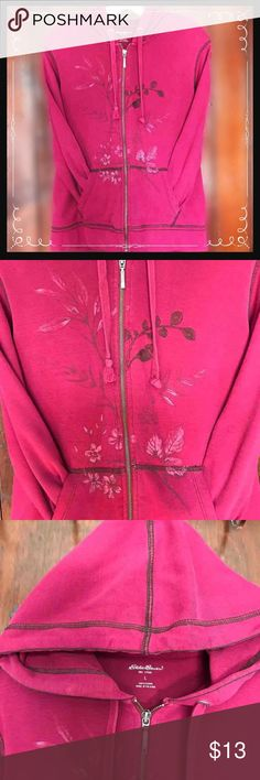 Eddie Bauer Pink Flowered Zip Up Hoodie Size: Lrg ~ Dark pink color ~ Full zip up hoodie ~ Features printed and embroidered flower  🌺 designs ~ Plain pink back ~ Front pockets  ~ Eddie Bauer brand ~ Size: Large ~ 100% cotton   ⭐️All Reasonable Offers Considered ⭐️ Eddie Bauer Jackets & Coats