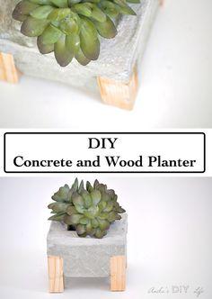 How to make a Concrete and Wood Planter - Pretty Handy Girl Diy Cement Planters, Concrete Pots, Concrete Garden, Concrete Design, Garden Planters, Concrete Furniture, Polished Concrete, Wall Planters, Balcony Garden