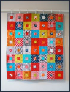 "Square-in-a-square quilt, 3"" squares and strips?  41"" x 48"""