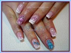 Blue & Pink Dragons by RadiD from Nail Art Gallery