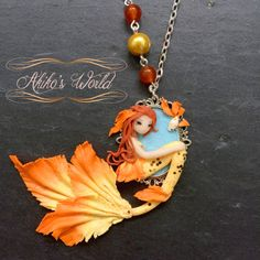 Tiny orange and yellow / gold mermaid cameo - Unique necklace model - Cute chibi…