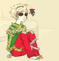 Homestuck Christmas mistletoe Dave all coy and adorbs. I'd kiss you, Strider