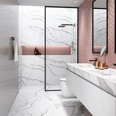 15 design ideas for chic bathroom tiles Bathroom Tile Designs, Trends & Ideas - Marble Bathroom Dreams Minimalist Bathroom Design, Modern Bathroom Design, Bathroom Interior Design, Bath Design, Modern Minimalist, Marble Interior, Vanity Design, Toilet Design, Minimalist Design
