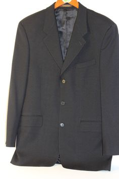 Black Blazer 3 button Wool Jacket Today's Man 38R #TodaysMan #ThreeButton