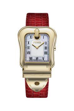 Fendi B.Fendi Gold-Plated Large Mother-of-Pearl Dial Women's Watch Fendi Perfume, Fendi Bags, Luxury Watches, Dream Watches, Watch Sale, Watch Brands, Luxury Jewelry, Red Leather, Eyewear