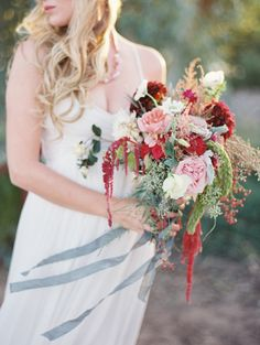 Such a gorgeous red bouquet by Sarah's Garden and Brushfire Photography!