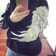 Aliexpress.com : Buy Newest 2015 Angel Wings Sleeve jumper punk Hoody women/ men brand Sweatshirt Sports pullovers Costumes Conjuntos size S M L XL from Reliable sweater jacket suppliers on WAQIA Fashion Co., Ltd | Alibaba Group