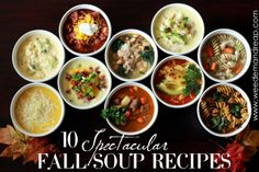 Balsamic Beef Soup, Classic Beef Chili, Butternut Squash Parmesan Soup, Cheesy Broccoli Soup, Sundried Tomato & Chicken Minestrone Soup, Hearty Clam Chowder, Slow-cooker Chicken Noodle Soup, Loaded Baked Potato Soup, Tortilla Fiesta Soup, and White Bean, Kale, & Sausage Soup