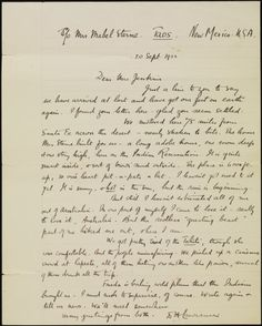 Letter from D.H. Lawrence to Mrs Jenkins, 1922 (ACC 2385A].  http://encore.slwa.wa.gov.au/iii/encore/record/C__Rb1923855__Sletters__Ff%3Afacetlocations%3Ash%3Ash%3AHeritage%20Collections%3A%3A__P8%2C224__Orightresult__U__X6?lang=eng&suite=def#attachedMediaSection