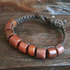 Rustic Ancient Carnelian Macrame Bracelet by losttribedesigns, $80.00