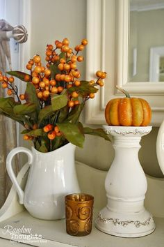 .Love autumnal nature with white ceramic