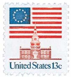 1975 13c Flag Over Independence Hall for sale at Mystic Stamp Company $0.15