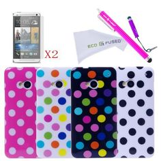 ECO-FUSED HTC ONE M7 - 9 pieces Polka Dot TPU Flex Gel Cover Case Bundle( HTC One M7 Only ) / 4 Polka Dot TPU Cover Cases / 2 Stylus (Long-Hot Pink, Short- Purple) / 2 Screen Protector - ECO-FUSED Microfiber Cleaning Cloth included (Hot Pink White Black White) by ECO-FUSED®, http://www.amazon.com/dp/B00CU7BQBS/ref=cm_sw_r_pi_dp_emD9rb08P4P2S