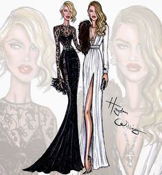 #Hayden Williams Fashion Illustrations #Candice Swanepoel & Rosie Huntington-Whiteley by Hayden Williams