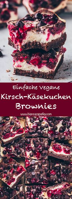 These fudgy vegan cherry cheesecake swirl brownies are easy to make gluten-free and so delicious! They combine amazing swirls of creamy, moist and rich cheesecake with a juicy fruit layer topping betw Easy Cake Recipes, Healthy Dessert Recipes, Health Desserts, Brownie Recipes, Cheesecake Swirl Brownies, Vegan Cheesecake, Cheesecake Recipes, Vegan Sweets, Vegan Desserts