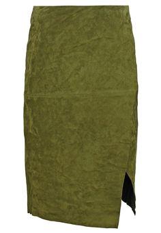 Dorothy Perkins Spódnica skórzana green