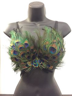 Womens peacock feather bird rave outfit bra by RaveWonderlandStore