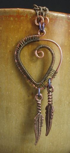Brown, Copper, Wire Wrapped Necklace, Brass, Copper. $45.00, via Etsy.