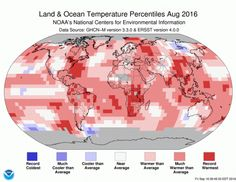 The globally averaged temperature over land and ocean surfaces for August 2016 was the highest for the month of August in the NOAA global temperature dataset record, which dates back to 1880.
