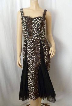 Leopard and Black Lace Mermaid Wiggle Dress Vintage Style Size 8 Medium M Pinup