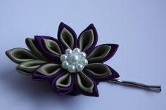 Kanzashi hair pin, Olive and Purple, satin ribbon flower, fabric flower
