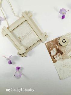 Festa della Mamma: portafoto fai-da-te con stecche del gelato Festa della mamma fai da te home decor legno e natura Riciclo Creativo