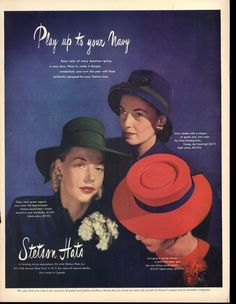 1946 Stetson's Ladies Brimmed Hats Play Up Navy Vintage Print Ad