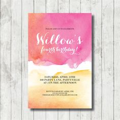 SUNSET printable custom invitation