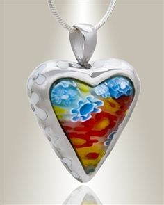 Find sterling silver Opulence Heart remembrance pendants, heart locket necklaces and heart necklace urns for cremated ashes.  Choose silver heart memorial lockets to fill with warm memories.