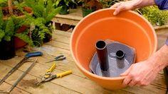 À l'aide d'un bocal, d'un morceau de grillage et d'un bout de tuyau, vous pouvez, assez facilement, transformer n'importe quel pot en un contenant à auto-arrosage. Quel que soit le pot choisi, il doit avoir au minimum 40 cm (16 po) de diamètre.