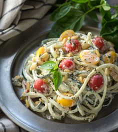 Easy Cucumber Noodles with a Vegan Basil Cream, Tomatoes and Pine Nuts —Raw Food Rawmazing Raw Food