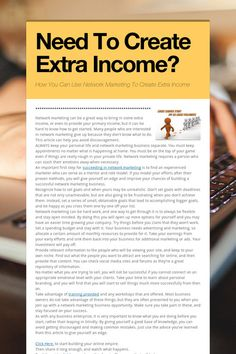 Help spread the word about Need To Create Extra Income?. Please share! :)