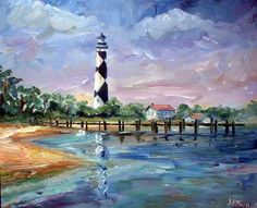 Cape Lookout Lighthouse, oil painting on canvas, jeff pittman art, outer banks north carolina artist Nc Lighthouses, Lighthouse Painting, Lighthouse Pictures, Coastal Art, Acrylic Painting Canvas, Unique Art, Art Gallery, Cape, North Carolina