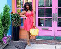Bow Dress, red Dress, Fringe sandals, mustard purse