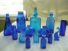Antique Vintage Cobalt Blue Glass Bottles