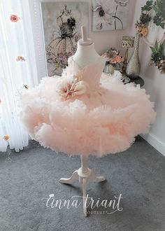 Distant Dreamer Gown by Anna Triant Couture – feather dress Little Girl Gowns, Gowns For Girls, Frocks For Girls, Little Girl Dresses, Flower Girl Dresses, 1st Birthday Girl Dress, Kids Gown, Kids Frocks Design, Feather Dress