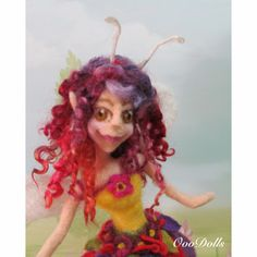 Needle Felt Fairy with wings, Doll, Art Doll, Ooak Art Doll, Posable Doll, Wensleydale curly locks, Handmade Doll. by OooDolls on Etsy