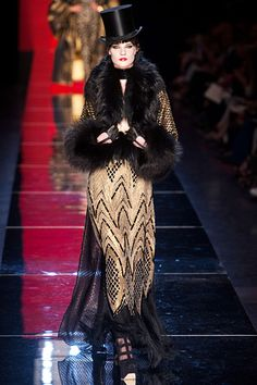 Jean Paul Gaultier | Fall 2012 Couture##slide25 | Chevron pattern smoking jacket, top hat