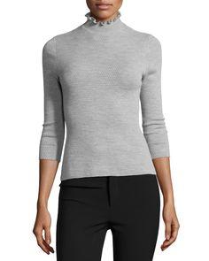 Merino Wool Mock-Neck Sweater, Light Gray Heather
