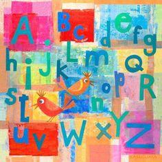 Oopsy Daisy - Alphabet with Kooky Birds Canvas Wall Art 14x14, Gale Kaseguma