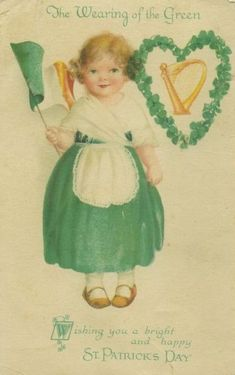 Vintage St Patrick's Day postcard by artist Ellen Clapsaddle, Wearing of the Green circa 1910.
