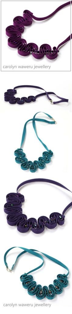 Beautiful teal, purple and violet necklaces on Carolyn Waweru Jewellery #handmade #necklaces