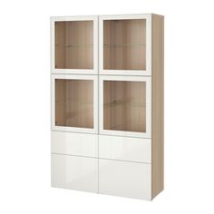 BESTÅ Storage combination w glass doors - white stained oak effect/Selsviken high-gloss/white clear glass, drawer runner, soft-closing - IKEA