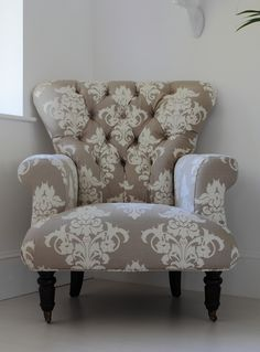 Beige Flocked Upholstered Armchair Savannah from Out There Interiors + fabric reupholstery Decor, Furniture, Interior, Beautiful Furniture, Patterned Chair, Home Decor, Armchair, Furnishings, Upholstered Chairs
