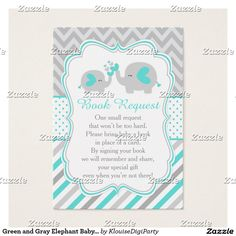 Green and Gray Elephant Baby Shower Book Request Business Card