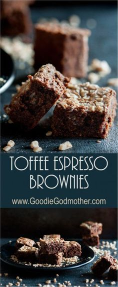 Rich chocolate toffee espresso brownies are a perfect unique chocolate brownie indulgence. They have just a hint of coffee flavor and a nutty toffee crunch! * Recipe on http://GoodieGodmother.com